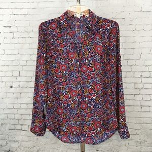 Limited Portofino slim fit navy blouse floral top